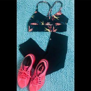 JoyLab Black and pink floral sports bra, small
